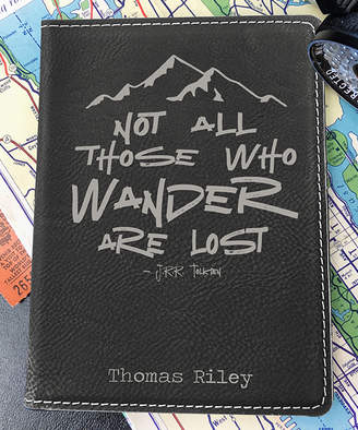 Stamp Out Online Passport Holders black - Black & Silver 'Not all Those Who Wander' Personalized Passport Cover