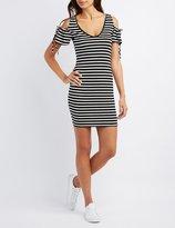 Charlotte Russe Striped Cold Shoulder Bodycon Dress