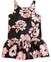 Milly Minis Sleeveless Floral Drop-Waist Smocked Dress, Pink/Black, Size 2-7