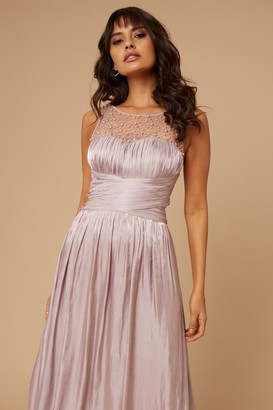 Little Mistress Grace Bridesmaid Mink Embellishment Sweetheart Maxi Dress