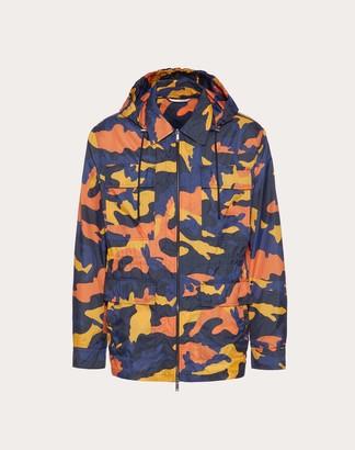 Valentino Camoulove Safari Jacket Man Navy Camo/orange 100% Poliammide 46