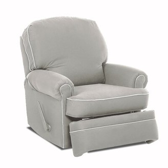 Wayfair Custom Upholstery Stanford Glider Swivel Recliner Body Fabric: Nadia Denim, Piping Fabric: Bayou Natural