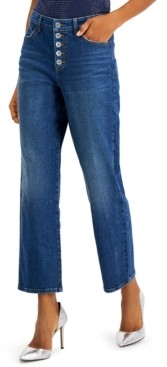 INC International Concepts Inc High-Rise Straight-Leg Jeans, Created for Macy's