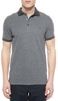 Burberry Tipped Pique Short-Sleeve Polo Shirt, Gray