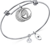 Unwritten Moon and Heart Disc Bangle Bracelet in Stainless Steel and Silver-Plate