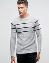 Pull&bear Jumper In Grey With Black Stripes