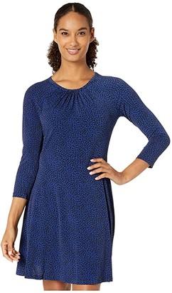MICHAEL Michael Kors Baby Cat 3/4 Sleeve Dress (Black/Twilight Blue) Women's Dress
