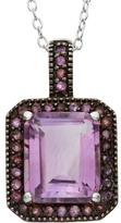 Tiara 5 3/5 CT TW Amethyst Rhodium-Plated Two-Tone Sterling Silver Halo Pendant