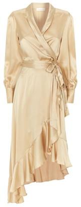 Zimmermann Silk Super Eight Wrap Midi Dress