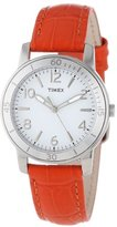 Timex Women's T2P053KW Ameritus Sport White Dial, Cherry Tomato Croco Patterned Leather Strap Watch