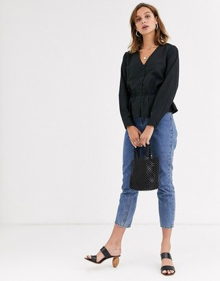 Only Sara long sleeve peplum blouse