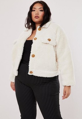 Missguided Plus Size White Cropped Utility Borg Jacket