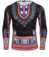 Modfine Men's Unisex Long Sleeve African Printed Casual Slim Fit Dashiki T Shirts Tops