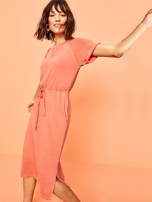Old Navy Garment-Dyed French Terry Cinch-Tie Midi Dress for Women