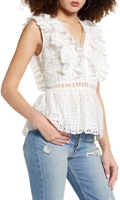 Endless Rose Sleeveless Lace Peplum Top