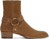 Saint Laurent Tan Suede Wyatt Harness Boots