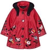 Catimini Fuchsia Floral Raincoat with Detachable Hood