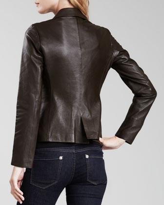 Amanda Uprichard Two-Button Leather Blazer