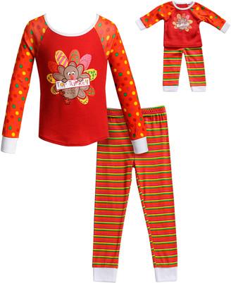 Dollie & Me Girls' Sleep Bottoms RD/MU - Red 'Top Turkey' Pajama Set & Doll Pajama Set - Toddler & Girls