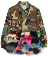 Harvey Faircloth Camouflage Jacket with Fur Panel in Multicolor