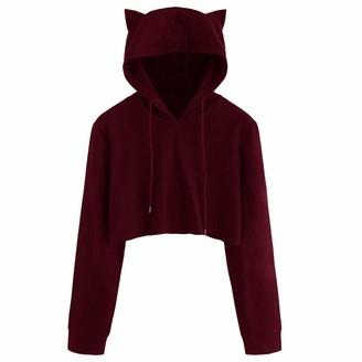 women hoody sweatshirt top for Women Ladies Girls liusdh Cut Cat Ear Decor Long Sleeve Crop Hoodies Pullover Sweatshirts Jumpers Blouse for Teen GirlsWineL