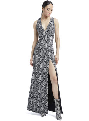 Alice + Olivia Celeste Snake Skin Slit Gown