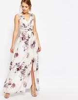 Little Mistress Plunge Front Chiffon Maxi Dress in Floral