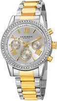 Akribos XXIV Womens Silver-Tone Dial Two-Tone Lux Bracelet Watch