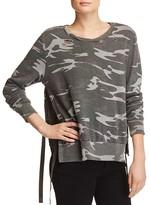 Pam & Gela Side Slit Destroyed Camo Sweatshirt - 100% Exclusive