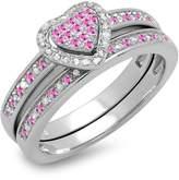 DazzlingRock Collection 10K White Gold Round Sapphire & White Diamond Ladies Bridal Engagement Ring Set (Size 7)