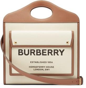 Burberry Pocket Medium Horseferry Logo-print Canvas Handbag - Tan Multi