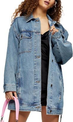 Topshop Oversize Long Denim Jacket
