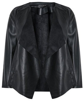 Dorothy Perkins Womens Dp Curve Black Pu Waterfall Jacket, Black