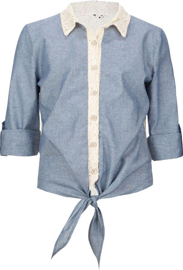Full Tilt Crochet Back Denim Girls Crop Shirt