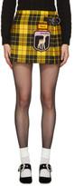 Miu Miu Yellow Tartan Pleated 'Gene' Miniskirt