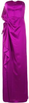 Aidan Mattox Strapless Ruffle-Trimmed Gown
