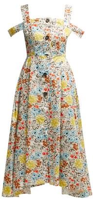 Isa Arfen Positano Floral-print Cotton Dress - Womens - Multi