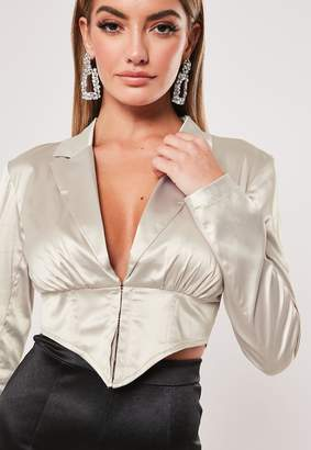 Missguided Silver Satin Corset Cropped Shirt