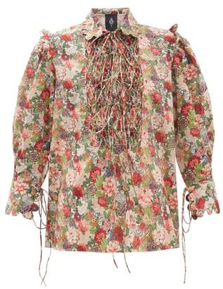 Horror Vacui Electra Floral-print Smocked Cotton Blouse - Womens - Red Multi