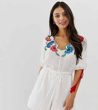 Asos DESIGN Petite romper with embroidery and tie sleeve detail