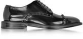 Jimmy Choo Penn Black Shiny Leather Lace Up Derby Shoe w/Gunmetal Studs