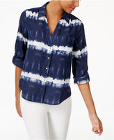 INC International Concepts Petite Cotton Tie-Dyed Shirt, Only at Macy's