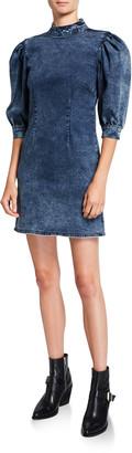 Ganni Stretch Denim High-Neck Short Dress