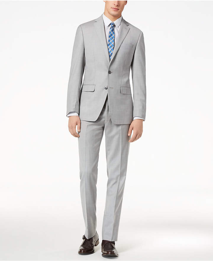 Calvin Klein Men's Slim-Fit Light Gray Sharkskin Suit