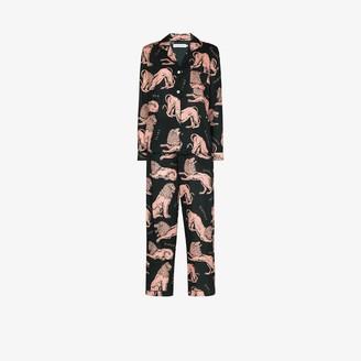 Desmond & Dempsey Circle lion print pyjamas