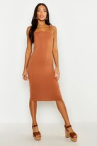boohoo Jen Square Neck Bodycon Midi Dress