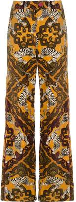 F.R.S For Restless Sleepers tiger-print flared trousers