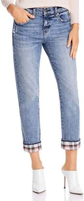 Pistola Denim Mason Plaid-Cuff Slim Straight-Leg Jeans in Dark Blue - 100% Exclusive