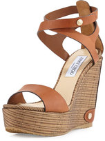 Jimmy Choo Noelle Woven Wedge Platform Sandal, Canyon