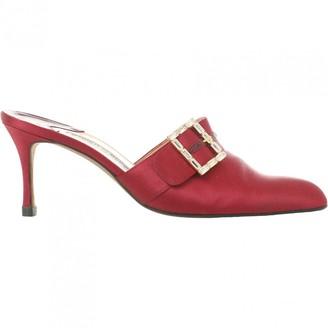 Manolo Blahnik Red Cloth Mules & Clogs